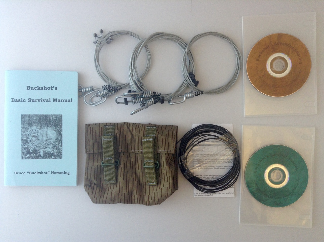 Buckshot's Small Snare Kit, Buckshot's Basic Survival Manual, Survival Snaring DVD & Advanced Survival Snaring DVD