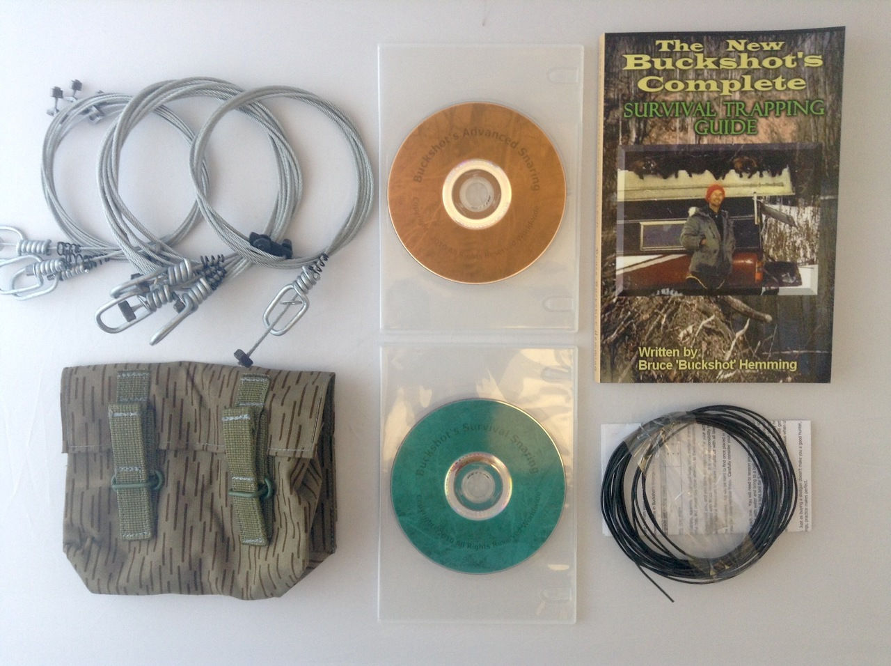 Buckshot's Small Snare Kit, Buckshot's Complete Survival Trapping Guide, Survival Snaring DVD & Advanced Survival Snaring DVD